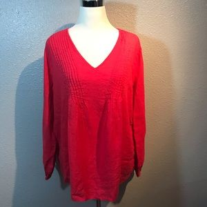 Sundance 100% Linen V Neck Pleated Top Size Large